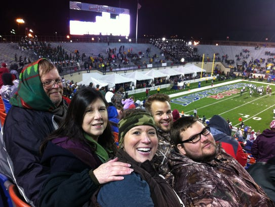 Robert Westerman at a football game with his family.