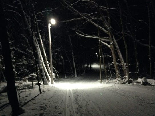 The Greenbush Trails' brown loop is lighted for early