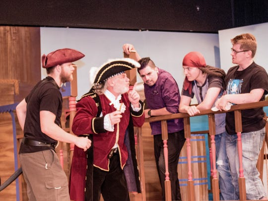 """Part of the cast from """"The Mystery of Pirate's Cove"""" rehearse a scene. Public performances are Friday and Saturday, May 6 and 7 at 7:30 p.m. at the Rohovec Theater at New Mexico State University-Alamogordo."""