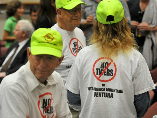 Members of the public, who opposed the keeping of tigers, at a 2014 Ventura County Board of Supervisors meeting.