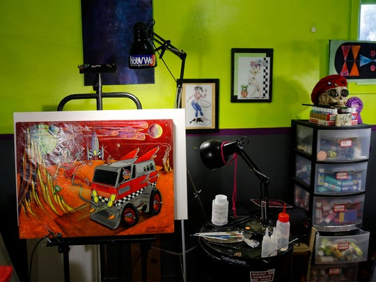 A painting by Robb Rocket sits on an easel in his studio Oct. 10 in Farmington.