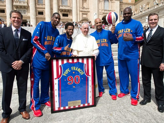 Marcus, Iowa, native, Briar Cliff University graduate, and Harlem Globetrotters SVP of Communications Brett Meister coordinated a meeting with Pope Francis and members of the legendary Harlem Globetrotters today (more details in the press release below). Pictured in the attached photo (l-r): Harlem Globetrotters CEO Kurt Schneider, Hi-Lite Bruton, Ant Atkinson, Pope Francis, Flight Time Lang, Big Easy Lofton and Harlem Globetrotters SVP of Communications Brett Meister. Photo © L'Osservatore Romano Foto.