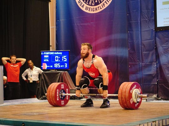 Olympic hopeful Anthony Pomponio prepares for the snatch, clean and jerk at the Weightlifting National Championships in Dallas earlier this month.