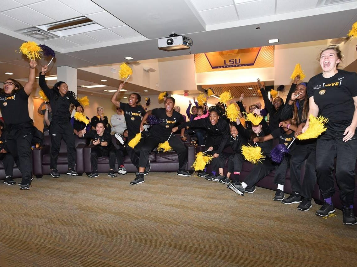 The LSU women's basketball teams learns of its NCAA Tournament bid.