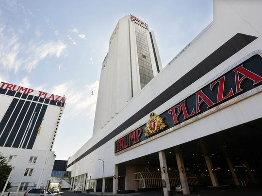 FILE - This Sept. 16, 2014 file photo shows the Trump Plaza Hotel and Casino in Atlantic City, N.J.  A California company, The Meruelo Group, reached a deal in 2013 to buy Trump Plaza for $20 million, which would have been the lowest price ever paid for a casino in New Jersey. But the deal fell through, and Trump Plaza shut down last month. (AP Photo/The Press of Atlantic City, Michael Ein, File)