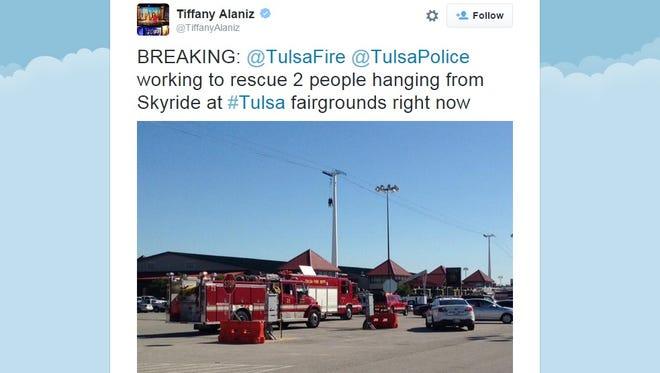 A KOKI-TV reporter in Tulsa captures the rescue on Saturday.