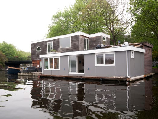 This three-bedroom houseboat in Amsterdam sleeps four.