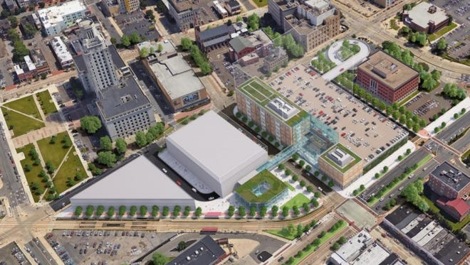 A rendering by engineering firm AECOM shows a re-imagined Walter Rand Transportation Center in downtown Camden.
