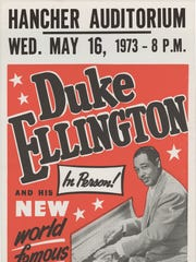 A poster for a Duke Ellington concert at Hancher Auditorium