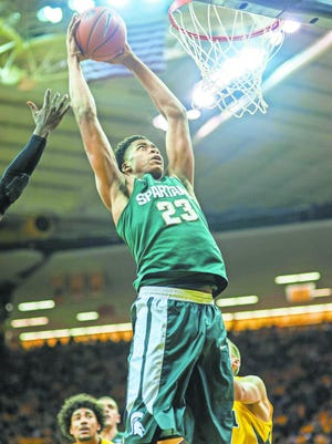 MSU freshman forward Deyonta Davis (23) is ranked as the No. 17 prospect for the NBA draft in the most recent rankings by ESPN's Chad Ford.