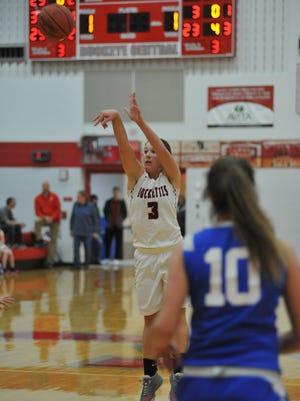 Jenna Karl shoots a 3-pointer.