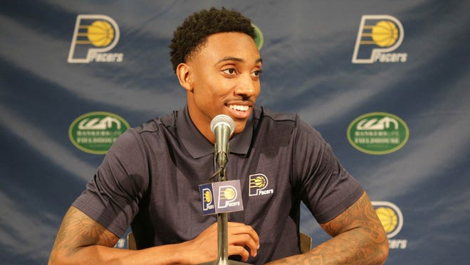 New Indiana Pacers point guard Jeff Teague answers questions during a news conference  Monday, July 11, 2016.