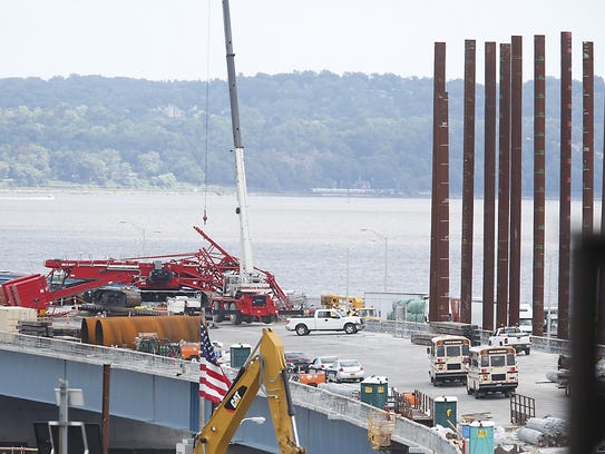 A construction crane fell across the Tappan Zee Bridge