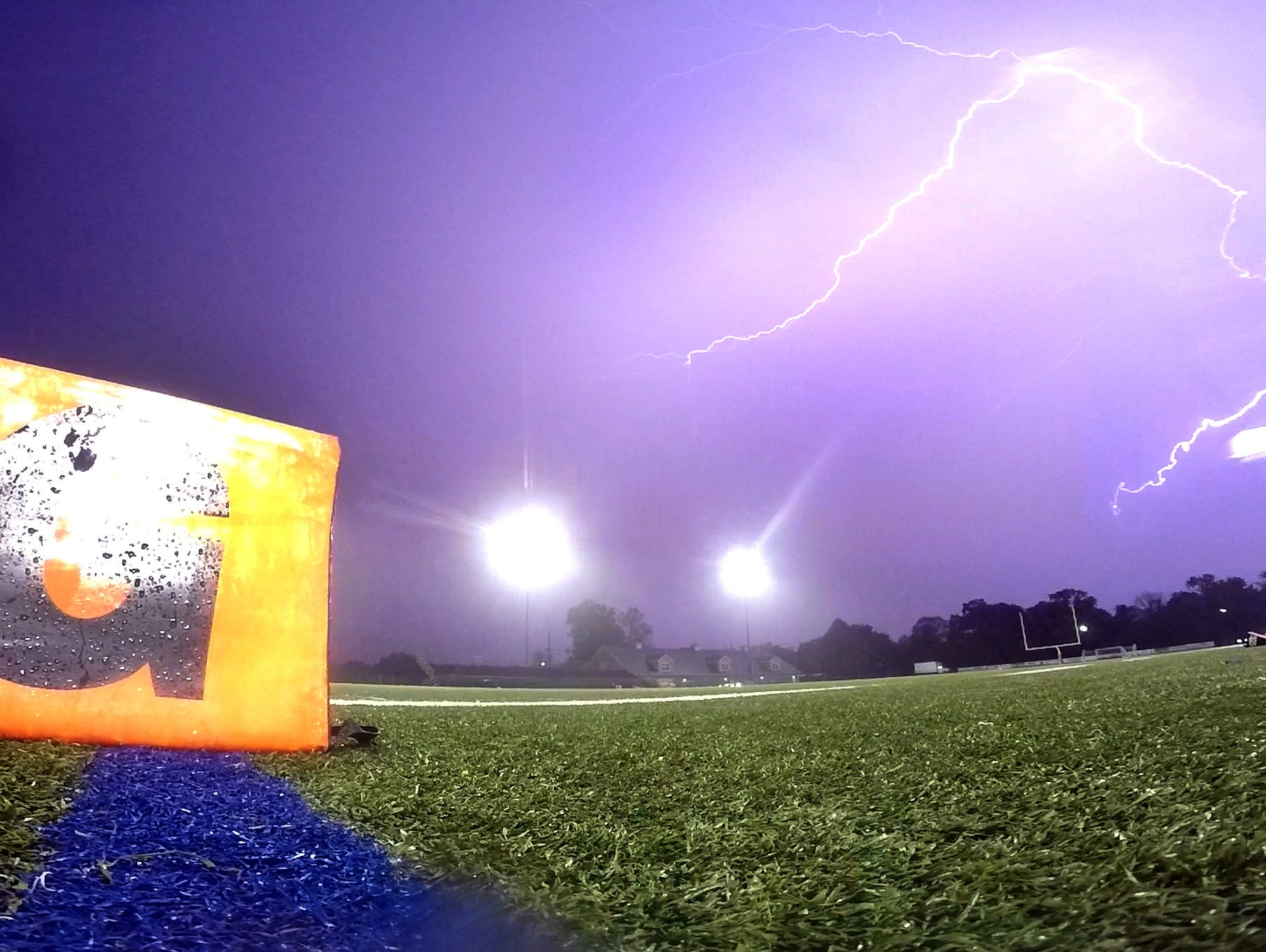 Lightning fills the sky over Borden Stadium in Rumson Friday evening, October 9, 2015, delaying the start of the Long Branch at Rumson-Fair Haven football game.