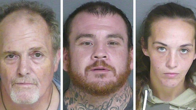 From left, Paul Hayes, Jamie Lanciano and Brianna Shaw are facing felony drug possession charges. Hayes also faces a related firearm charge.