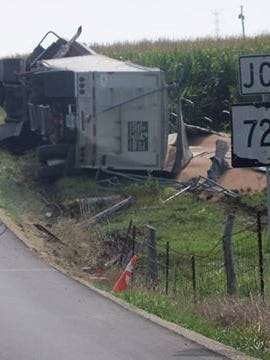 This single-vehicle accident has closed part of Indiana 44 East in Union County.