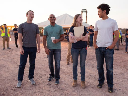 Facebook CEO Mark Zuckerberg (left) was on hand for