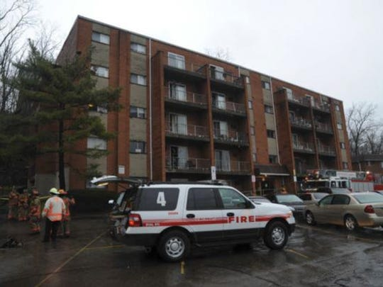 The exterior of the apartment complex at the end of Dahlgren Street.