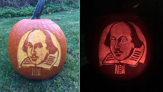 Pumpkin carved in the likeness of William Shakespeare by Don Preziosi of Mendham. The pumpkin was presented at the Oct. 26 meeting of the Shakespeare Club of Morristown (founded in 1876), hosted by Newly Preziosi.