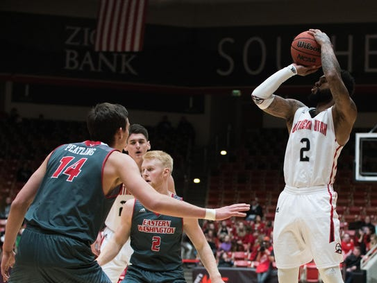Brandon Better shoots during SUU's 66-62 win over Eastern