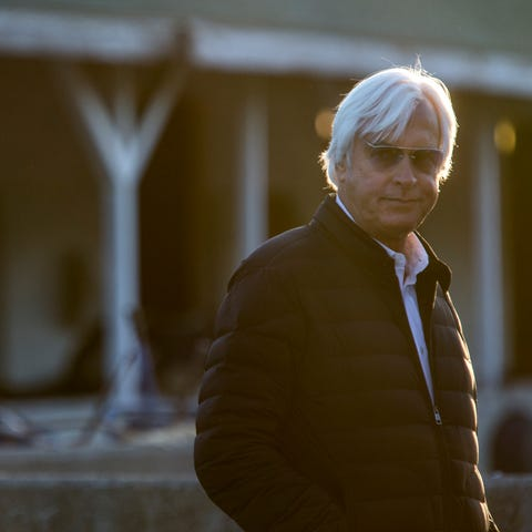 Trainer Bob Baffert cast a weary eye on the crush...