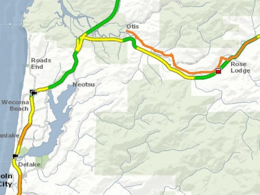 Crash blocking Highway 18 near Rose Lodge