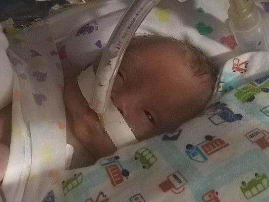 Greyson was born on Jan. 5 via emergency C-section.