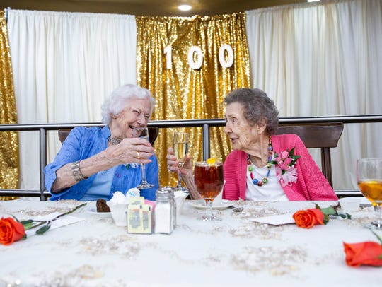 Vesta Warner, 100, left, and Claire Connolly, 100,