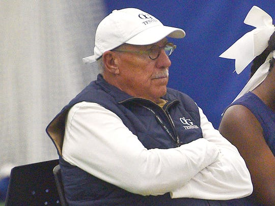 O'Gorman tennis coach Don Barnes sits with Danielle Sebata during her match in the first day of state girls tennis tournament Thursday, Oct. 5, at the Huether Family Match Pointe.
