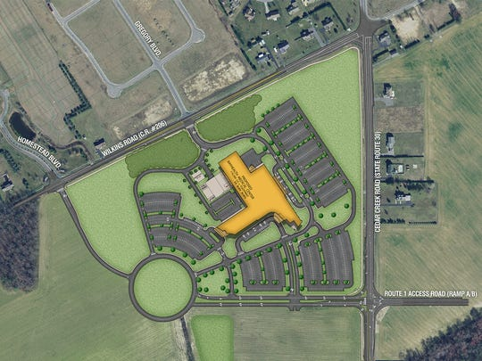 Aerial rendering of Bayhealth Medical Center's new Milford campus along Del. 1.