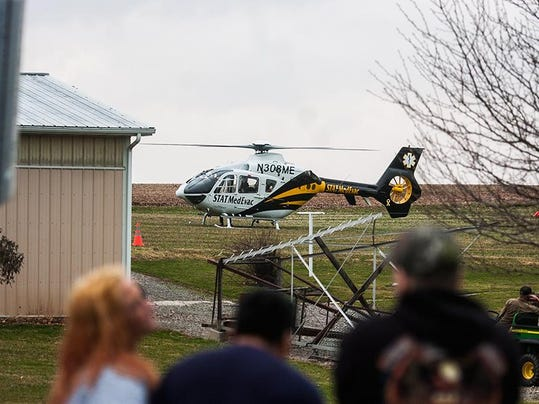 At least one person was taken to an area hospital via helicopter April 3 following a two-vehicle crash on Route 30 in Paradise Township.