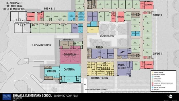 Schematics for the new Showell Elementary, to being construction in 2019.