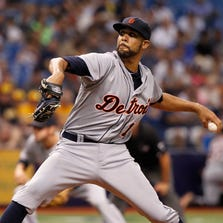 Detroit Tigers starting pitcher David Price (14) throws a pitch during the second inning against the Tampa Bay Rays at Tropicana Field.