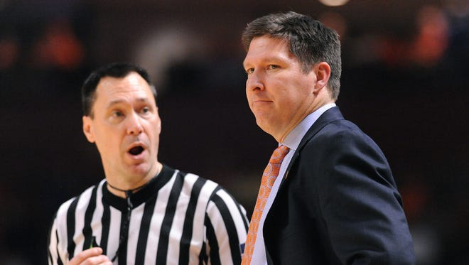 Clemson head coach Brad Brownell reacts as the Tigers play Notre Dame during the 2nd half on Monday, February 8,  2016 at Bon Secours Wellness Arena in downtown Greenville.