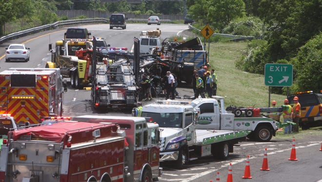 A car carrier and a state Department of Transportation truck collided at Exit 3 south bound on Interstate 684. June 1, 2016. State police and Armonk firefighters were on the scene.