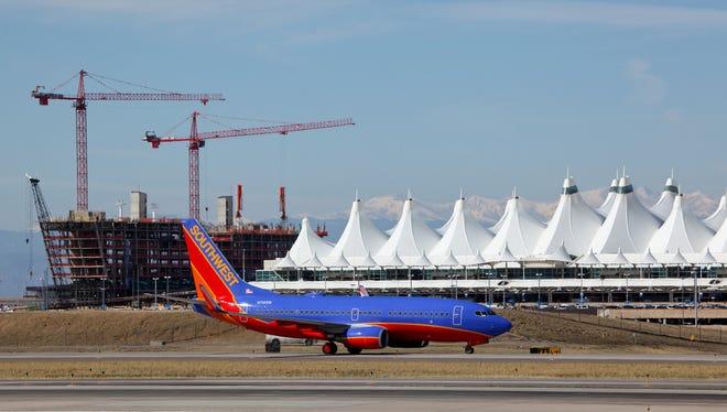 A plane is seen at Denver International Airport.