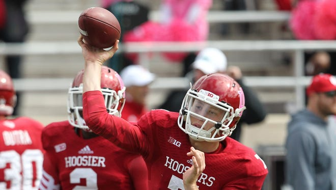 Indiana Hoosiers quarterback Nate Sudfeld (7) throws the ball prior to the game against the North Texas Mean Green at Memorial Stadium.