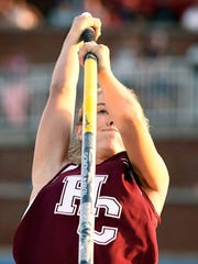 "MIKE LAWRENCE / THE GLEANER Henderson County's Jaci Bickett makes an attempt at 13' in the Girls Pole Vault after setting the state record of 12' 6"" earlier as she competes in the 3-A Kentucky High School Athletic Association State Track and Field Championship in Lexington Saturday, May 28, 2016."