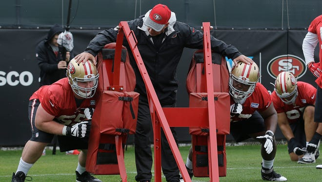 Delone Catholic's Pat Flaherty, center, is one of the top offensive line coaches in the NFL. He believes the time is right to be a first-time head coach at age 60. Here, he works with rookies in his new 49ers' job.