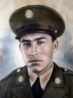 Simon Mendoza, a 94-year-old local World War II veteran, is pictured in uniform in the 1940s.