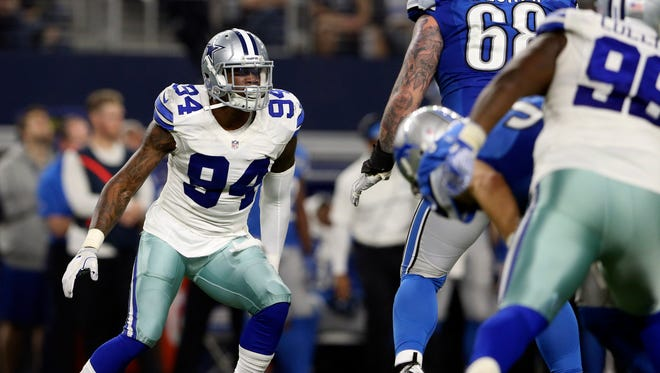 Dec 26, 2016;  Dallas Cowboys defensive end Randy Gregory (94) rushes during the second half against the Detroit Lions at AT&T Stadium.