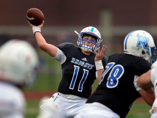 Nolensville quarterback Ryder Galardi (11) passes against