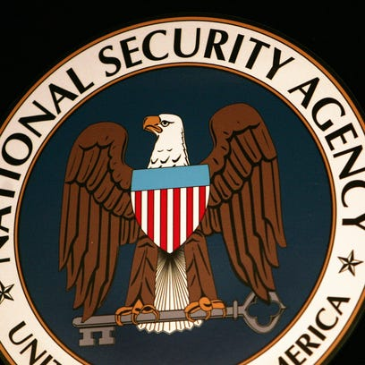 Fort Meade, UNITED STATES:  (FILES): This 25 January 2006 file photo shows the logo of the National Security Agency (NSA) at the Threat Operations Center inside the NSA in the Washington suburb of Fort Meade, Maryland.