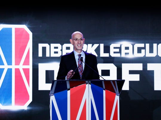 NBA Commissioner Adam Silver speaks before the start of the NBA 2K League draft Wednesday, April 4, 2018, in New York. Launching in 2018, the league will feature the best NBA 2K players in the world and will draft players to compete as unique characters in 5-on-5 play against the other teams in a mix of regular-season games, tournaments and playoffs. (AP Photo/Frank Franklin II)