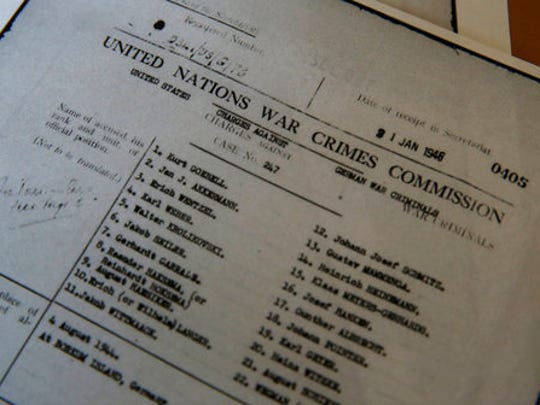 A view of a United Nations' file from the United States making charges against German war criminals, displayed at the Wiener Library for the Study of Holocaust & Genocide, in London, Friday, April 21, 2017. The library is making the United Nations' files on World War II war crimes more accessible by allowing the general public to search an online catalog of the documents for the first time beginning Friday. People will still have to visit the library in London or the U.S. Holocaust Museum to read the actual files.