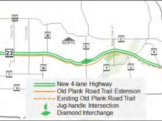 A Department of Transportation map shows the proposed, 4-lane expansion of State 23 from Fond du Lac Plymouth.