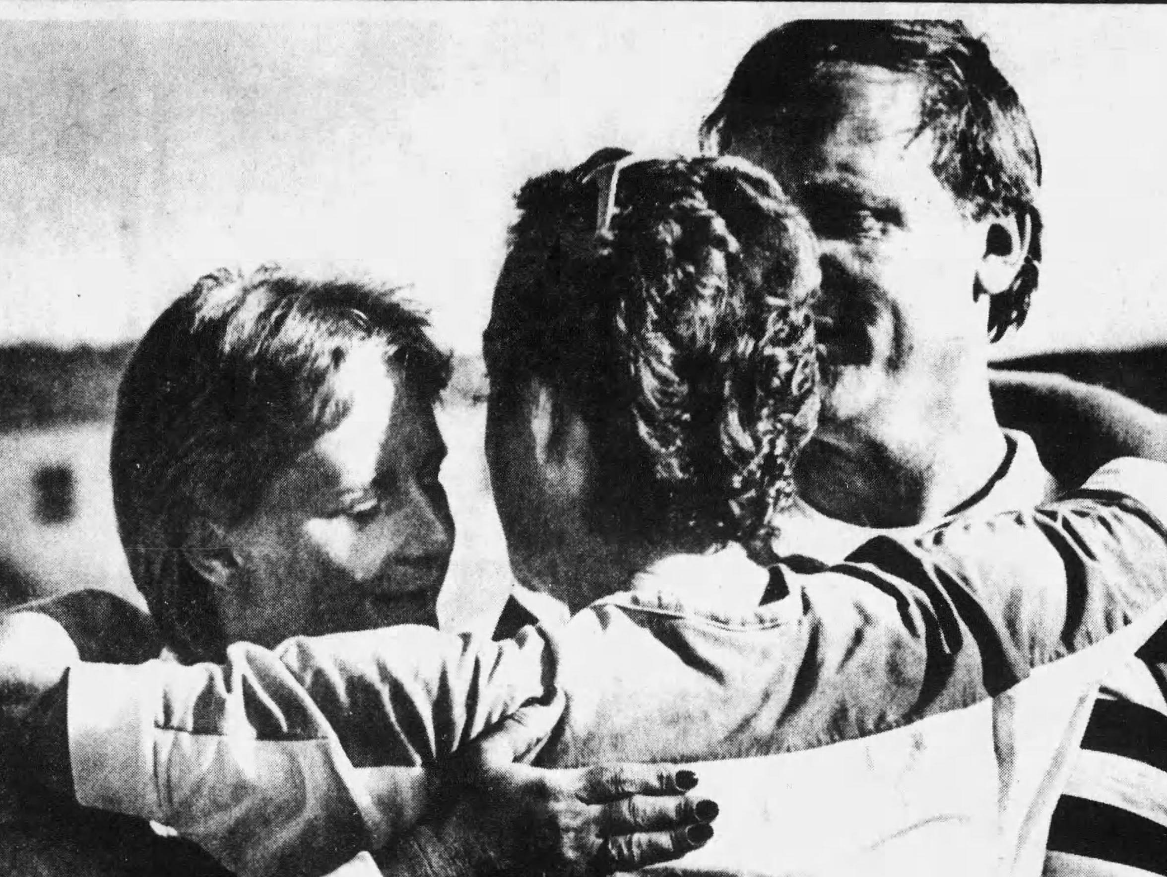 Jean and David Lindsey get a hug from Binghamton Councilwoman