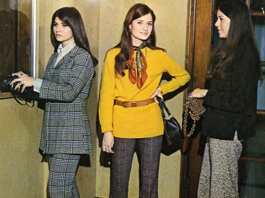 Pants suits, as seen throughout Tech in 1970, are displayed