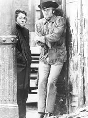 Dustin Hoffman, left, and Jon Voight in a scene from the motion picture 'Midnight Cowboy,' directed by John Schlesinger.  After play a preppy young man in 'The Graduate' Hoffman auditioned as a homeless man to convince Schlesinger he could handle the gritty role as Ratso Rizzo.