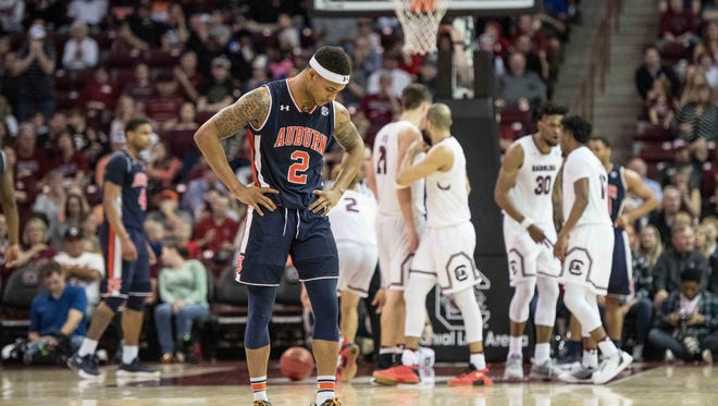 Auburn guard Bryce Brown (2) reacts to a South Carolina score during the second half of an NCAA college basketball game Saturday, Feb. 17, 2018, in Columbia, S.C. South Carolina defeated Auburn 84-75.